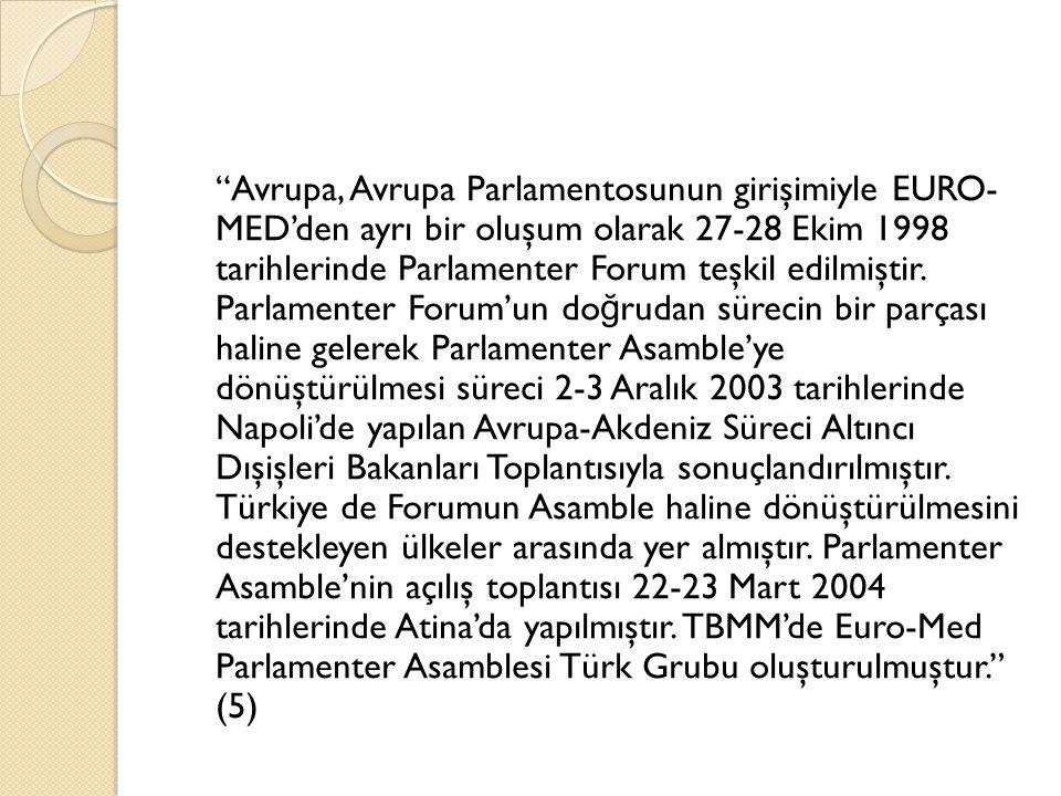 """""""Avrupa, Avrupa Parlamentosunun girişimiyle EURO- MED'den ayrı bir oluşum olarak 27-28 Ekim 1998 tarihlerinde Parlamenter Forum teşkil edilmiştir. Par"""