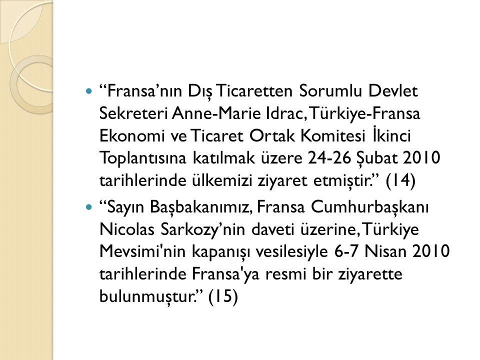 """""""Fransa'nın Dış Ticaretten Sorumlu Devlet Sekreteri Anne-Marie Idrac, Türkiye-Fransa Ekonomi ve Ticaret Ortak Komitesi İ kinci Toplantısına katılmak ü"""
