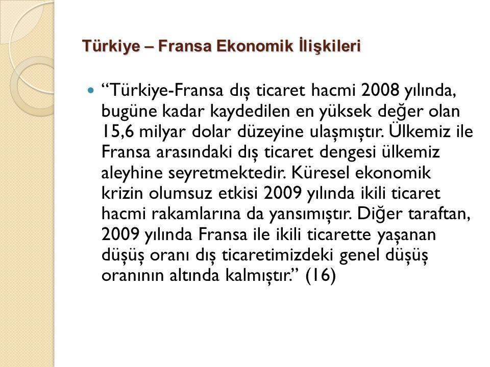 """Türkiye – Fransa Ekonomik İlişkileri """"Türkiye-Fransa dış ticaret hacmi 2008 yılında, bugüne kadar kaydedilen en yüksek de ğ er olan 15,6 milyar dolar"""
