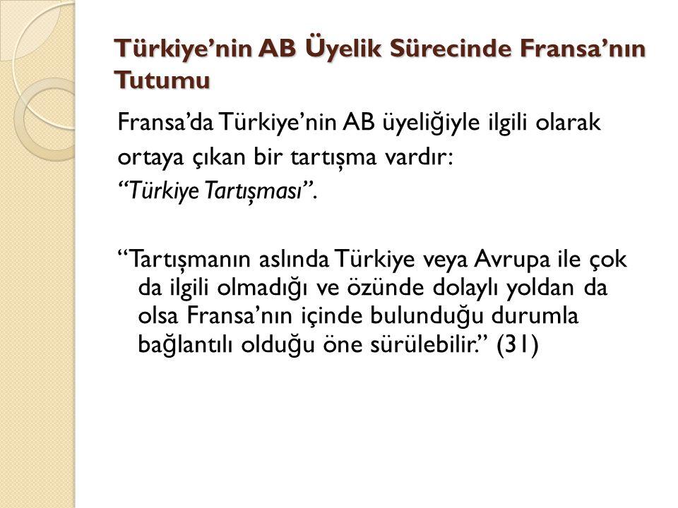 """Türkiye'nin AB Üyelik Sürecinde Fransa'nın Tutumu Fransa'da Türkiye'nin AB üyeli ğ iyle ilgili olarak ortaya çıkan bir tartışma vardır: """"Türkiye Tartı"""