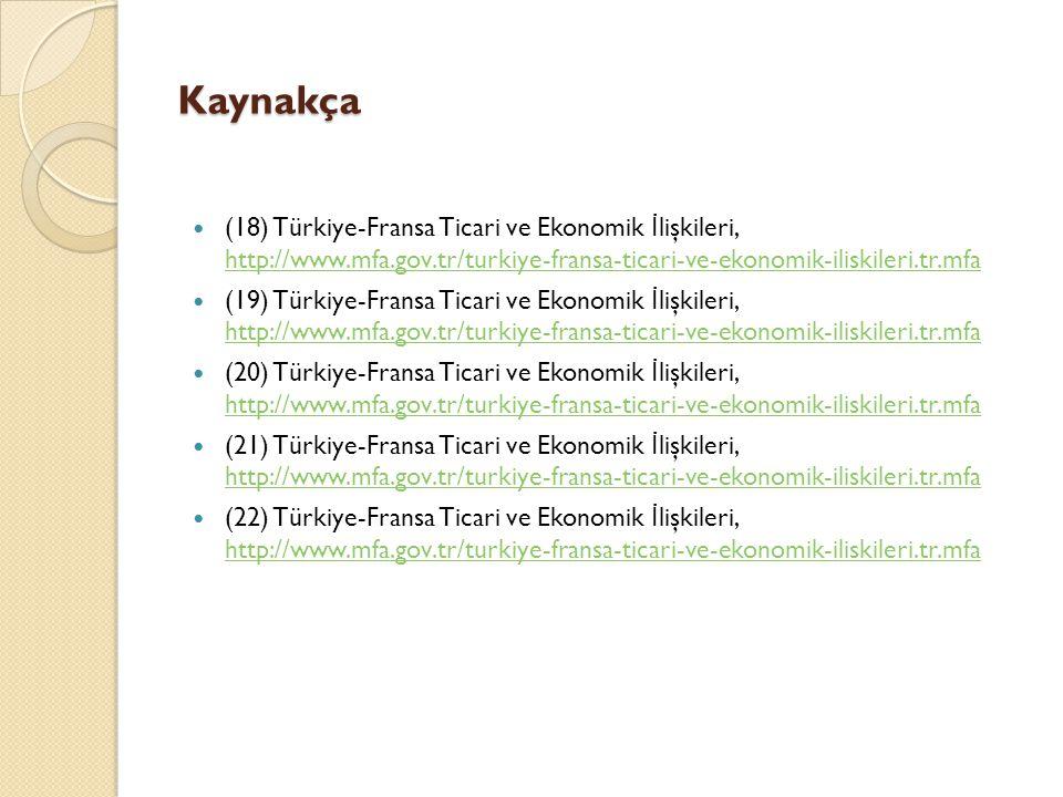 Kaynakça (18) Türkiye-Fransa Ticari ve Ekonomik İ lişkileri, http://www.mfa.gov.tr/turkiye-fransa-ticari-ve-ekonomik-iliskileri.tr.mfa http://www.mfa.