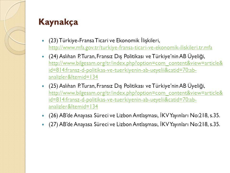 Kaynakça (23) Türkiye-Fransa Ticari ve Ekonomik İ lişkileri, http://www.mfa.gov.tr/turkiye-fransa-ticari-ve-ekonomik-iliskileri.tr.mfa http://www.mfa.