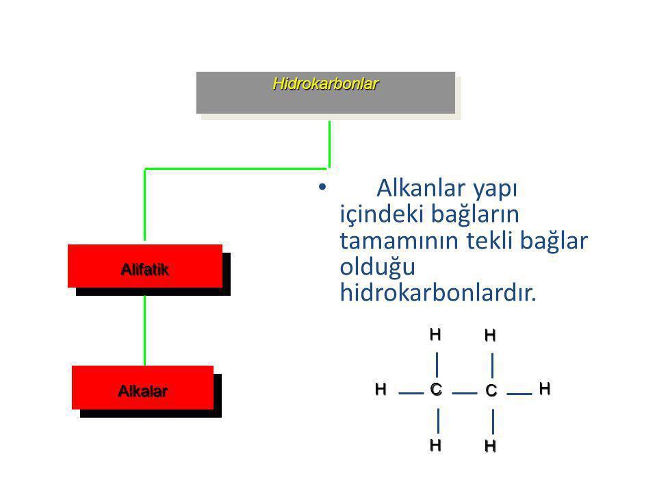 Hidrokarbonlar Alifatik Alkalar Alkanlar yapı içindeki bağların tamamının tekli bağlar olduğu hidrokarbonlardır. Alkanlar yapı içindeki bağların tamam
