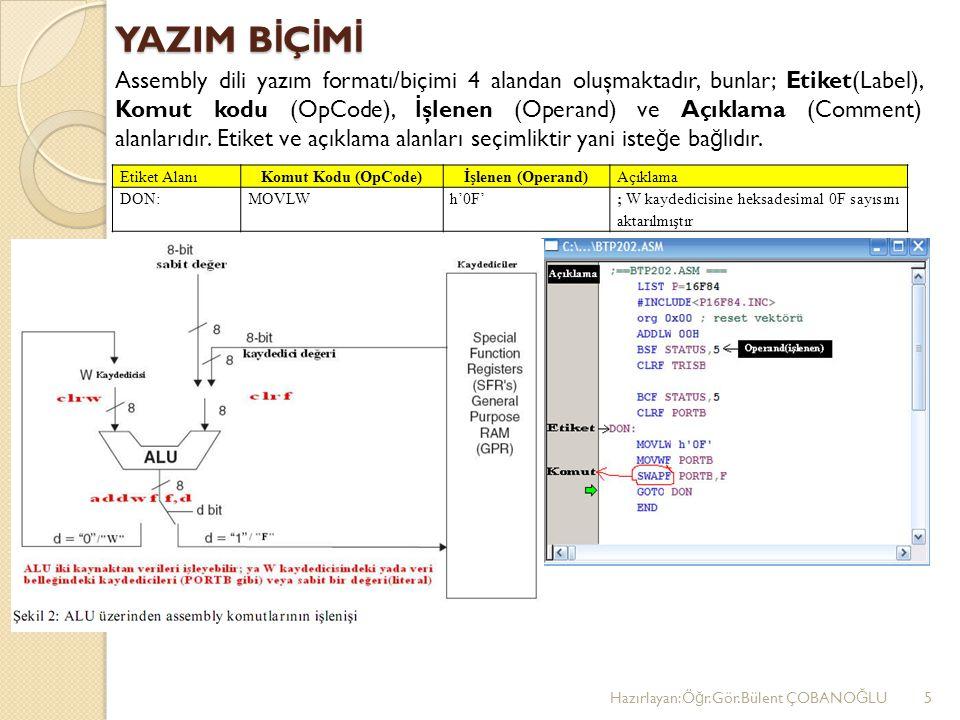 YAZIM B İ Ç İ M İ Assembly dili yazım formatı/biçimi 4 alandan oluşmaktadır, bunlar; Etiket(Label), Komut kodu (OpCode), İ şlenen (Operand) ve Açıklama (Comment) alanlarıdır.