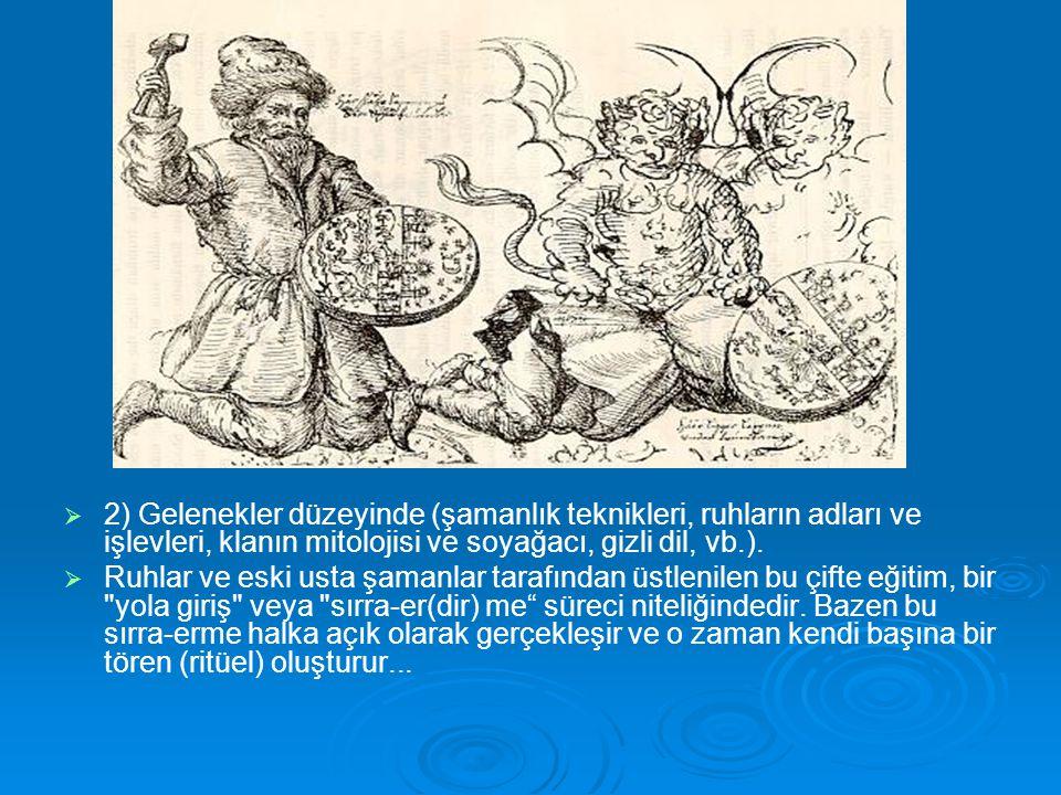   2) Gelenekler düzeyinde (şamanlık teknikleri, ruhların adları ve işlevleri, klanın mitolojisi ve soyağacı, gizli dil, vb.).   Ruhlar ve eski ust