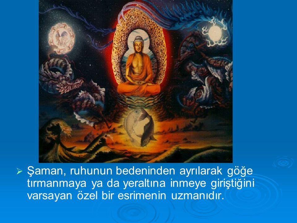   Şaman, ruhunun bedeninden ayrılarak göğe tırmanmaya ya da yeraltına inmeye giriştiğini varsayan özel bir esrimenin uzmanıdır.