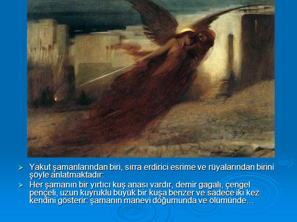  Yakut şamanlarından biri, sırra erdirici esrime ve rüyalarından birini şöyle anlatmaktadır:  Her şamanın bir yırtıcı kuş anası vardır, demir gagalı