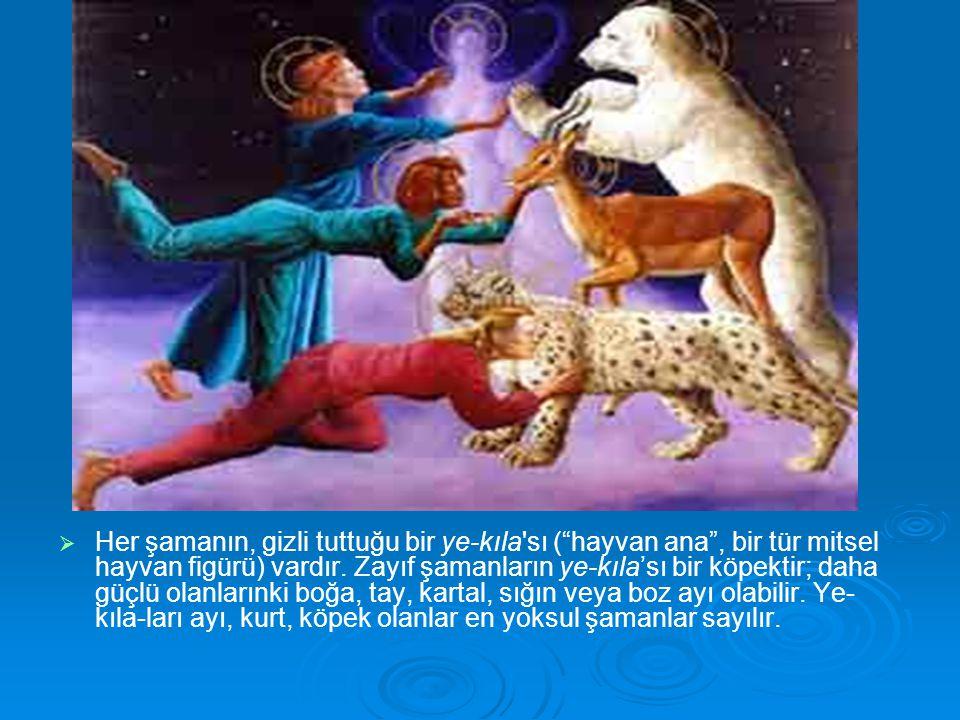 """  Her şamanın, gizli tuttuğu bir ye-kıla'sı (""""hayvan ana"""", bir tür mitsel hayvan figürü) vardır. Zayıf şamanların ye-kıla'sı bir köpektir; daha güçl"""