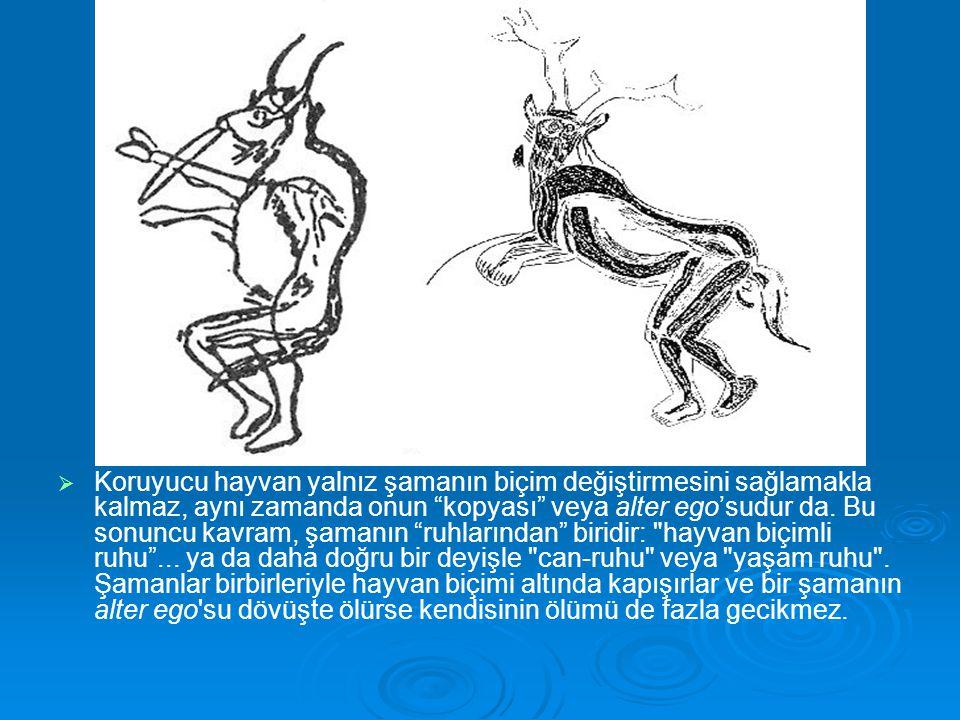"""  Koruyucu hayvan yalnız şamanın biçim değiştirmesini sağlamakla kalmaz, aynı zamanda onun """"kopyası"""" veya alter ego'sudur da. Bu sonuncu kavram, şam"""