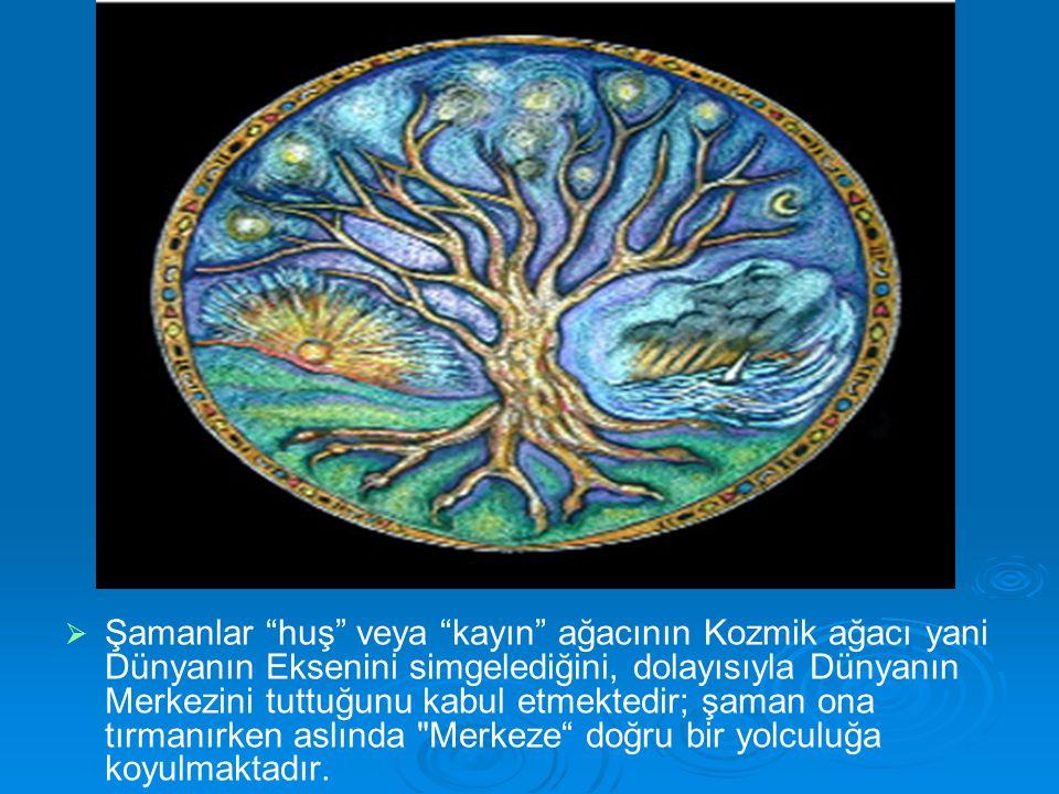 """  Şamanlar """"huş"""" veya """"kayın"""" ağacının Kozmik ağacı yani Dünyanın Eksenini simgelediğini, dolayısıyla Dünyanın Merkezini tuttuğunu kabul etmektedir;"""