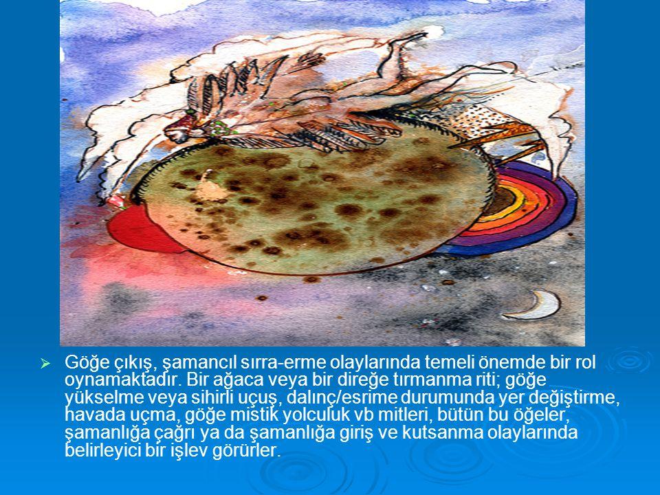   Göğe çıkış, şamancıl sırra-erme olaylarında temeli önemde bir rol oynamaktadır. Bir ağaca veya bir direğe tırmanma riti; göğe yükselme veya sihirl