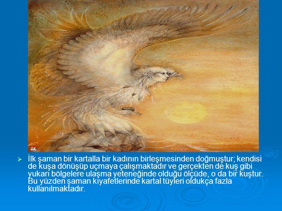   İlk şaman bir kartalla bir kadının birleşmesinden doğmuştur; kendisi de kuşa dönüşüp uçmaya çalışmaktadır ve gerçekten de kuş gibi yukarı bölgeler