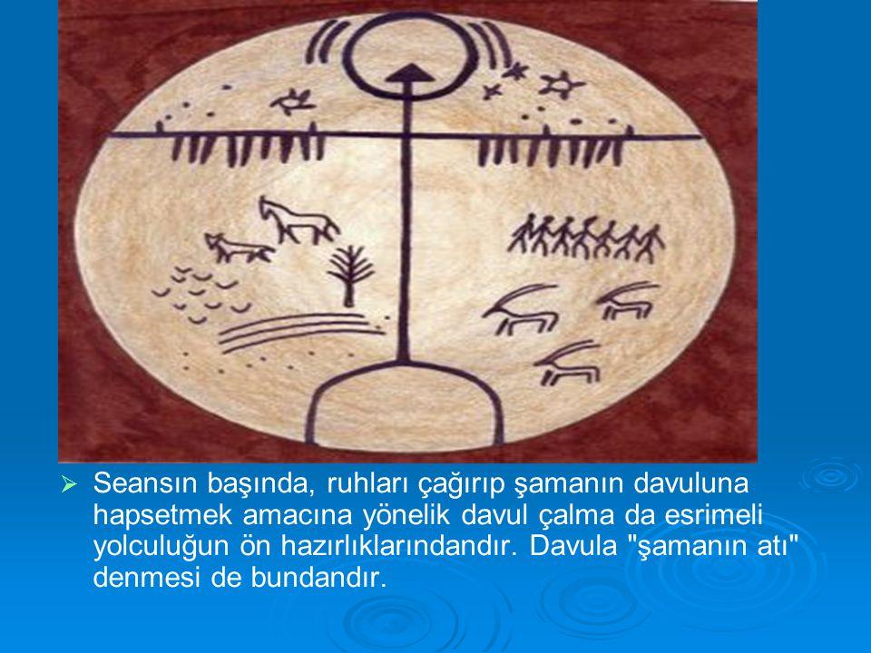   Seansın başında, ruhları çağırıp şamanın davuluna hapsetmek amacına yönelik davul çalma da esrimeli yolculuğun ön hazırlıklarındandır. Davula