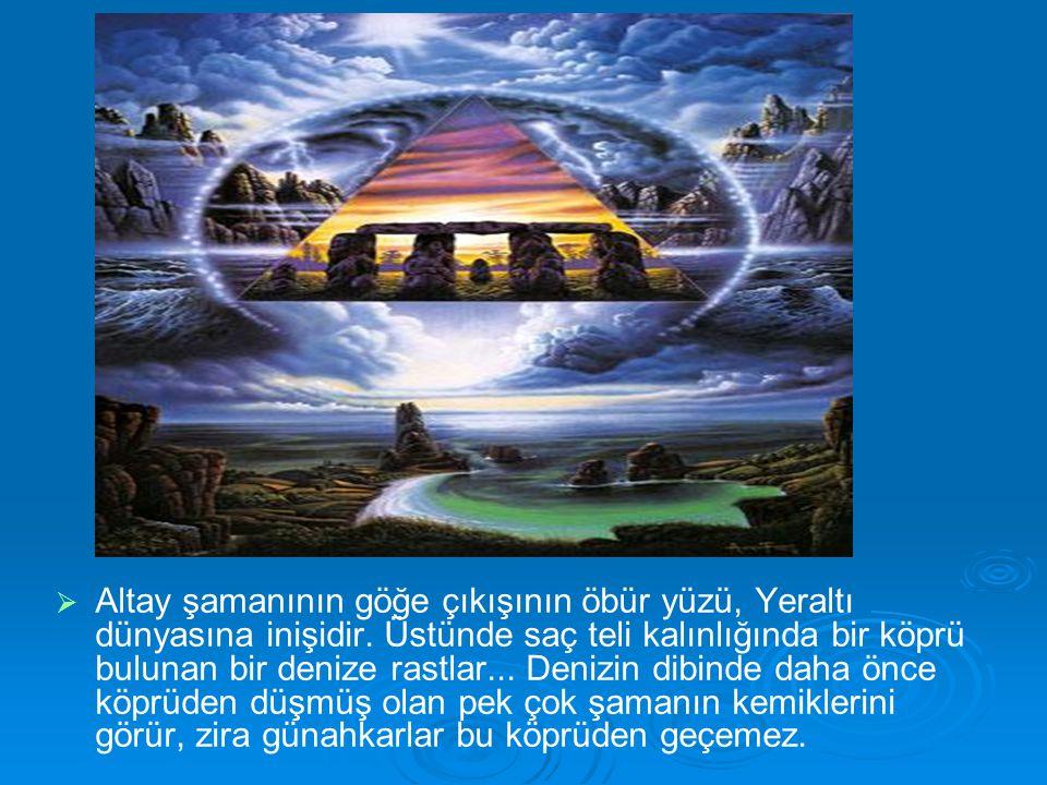   Altay şamanının göğe çıkışının öbür yüzü, Yeraltı dünyasına inişidir. Üstünde saç teli kalınlığında bir köprü bulunan bir denize rastlar... Denizi