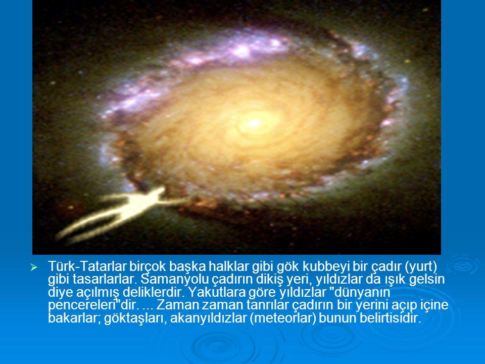 kozmoloji   Türk-Tatarlar birçok başka halklar gibi gök kubbeyi bir çadır (yurt) gibi tasarlarlar. Samanyolu çadırın dikiş yeri, yıldızlar da ışık g
