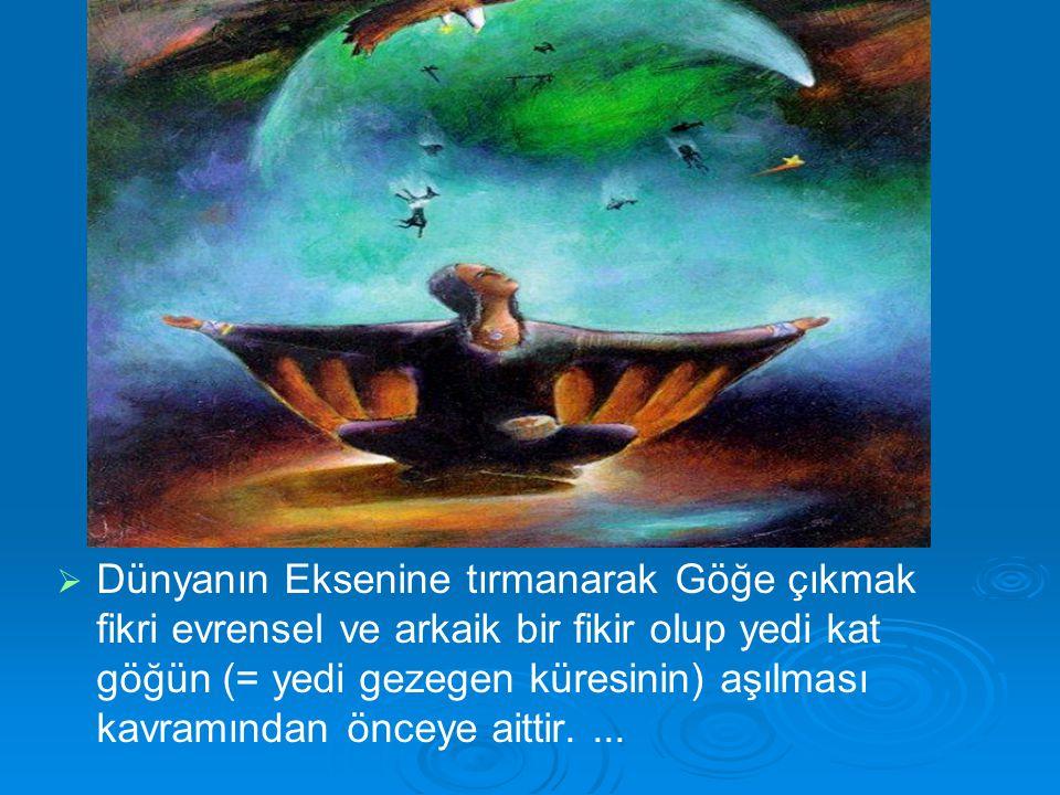   Dünyanın Eksenine tırmanarak Göğe çıkmak fikri evrensel ve arkaik bir fikir olup yedi kat göğün (= yedi gezegen küresinin) aşılması kavramından ön