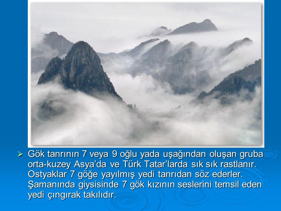  Gök tanrının 7 veya 9 oğlu yada uşağından oluşan gruba orta-kuzey Asya'da ve Türk Tatar'larda sık sık rastlanır. Ostyaklar 7 göğe yayılmış yedi tanr