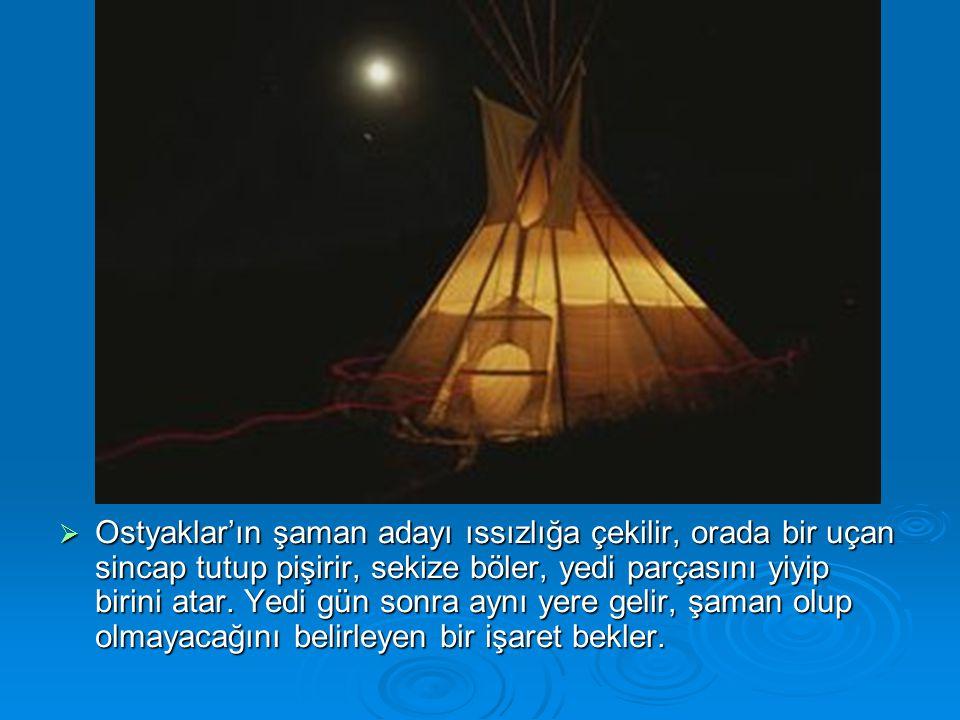  Ostyaklar'ın şaman adayı ıssızlığa çekilir, orada bir uçan sincap tutup pişirir, sekize böler, yedi parçasını yiyip birini atar. Yedi gün sonra aynı