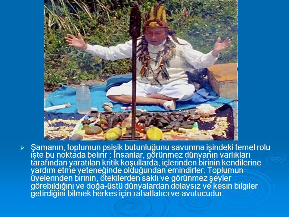   Şamanın, toplumun psişik bütünlüğünü savunma işindeki temel rolü işte bu noktada belirir : İnsanlar, görünmez dünyanın varlıkları tarafından yarat