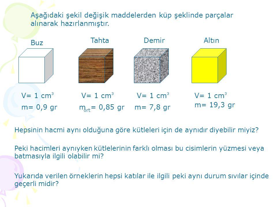 Aşağıdaki şekil değişik maddelerden küp şeklinde parçalar alınarak hazırlanmıştır. Buz Tahta DemirAltın V= 1 cm 3333 Hepsinin hacmi aynı olduğuna göre