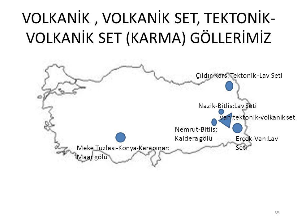 VOLKANİK, VOLKANİK SET, TEKTONİK- VOLKANİK SET (KARMA) GÖLLERİMİZ 35 Erçek-Van:Lav Seti Çıldır-Kars: Tektonik -Lav Seti Nazik-Bitlis:Lav Seti Nemrut-B