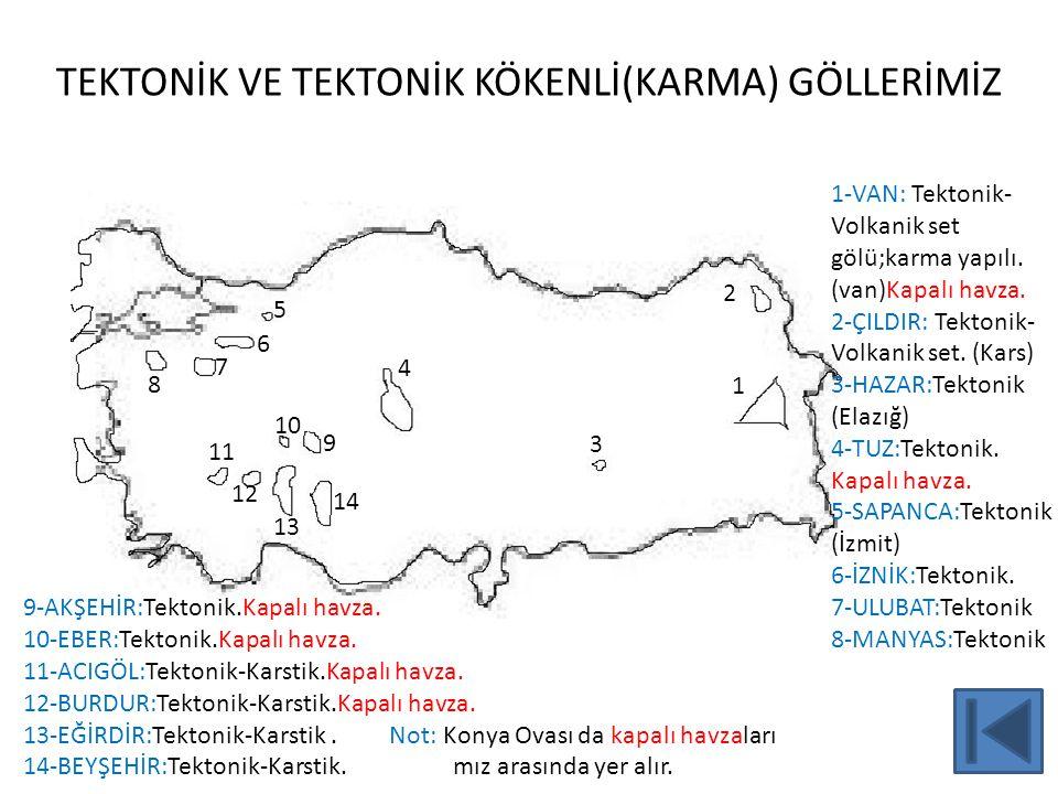 TEKTONİK VE TEKTONİK KÖKENLİ(KARMA) GÖLLERİMİZ 7 2 1 4 3 5 8 7 6 9 10 11 12 13 14 1-VAN: Tektonik- Volkanik set gölü;karma yapılı. (van)Kapalı havza.