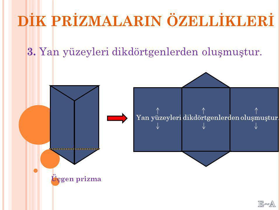 2. Alt ve üst tabanları eş ve paraleldir. Alt Taban Üst Taban Eş ve Birbirine Paralel