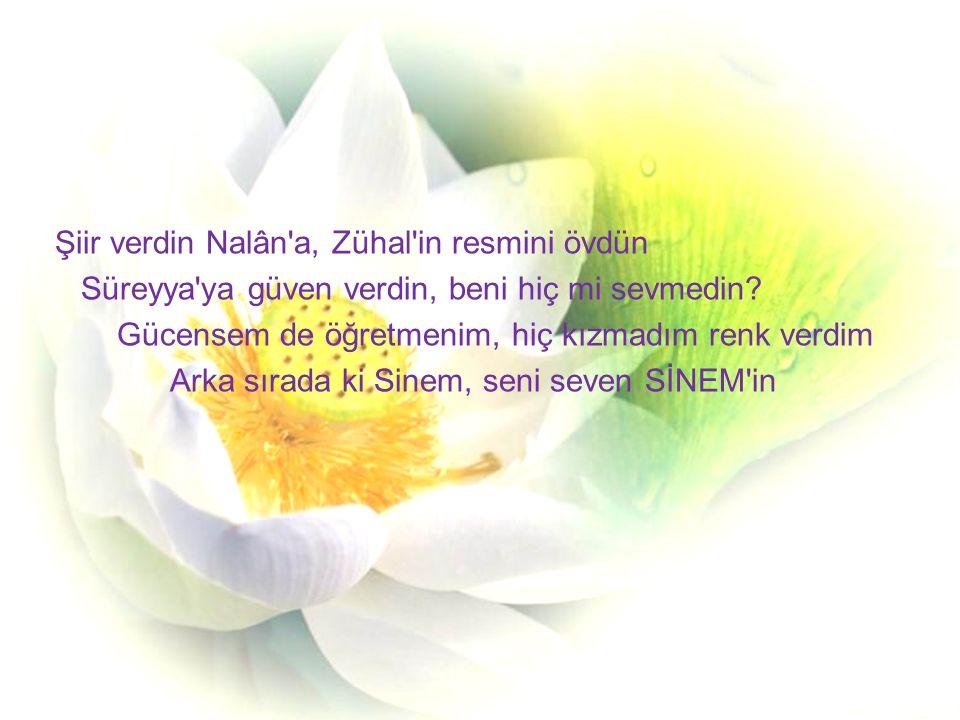 Şiir verdin Nalân a, Zühal in resmini övdün Süreyya ya güven verdin, beni hiç mi sevmedin.