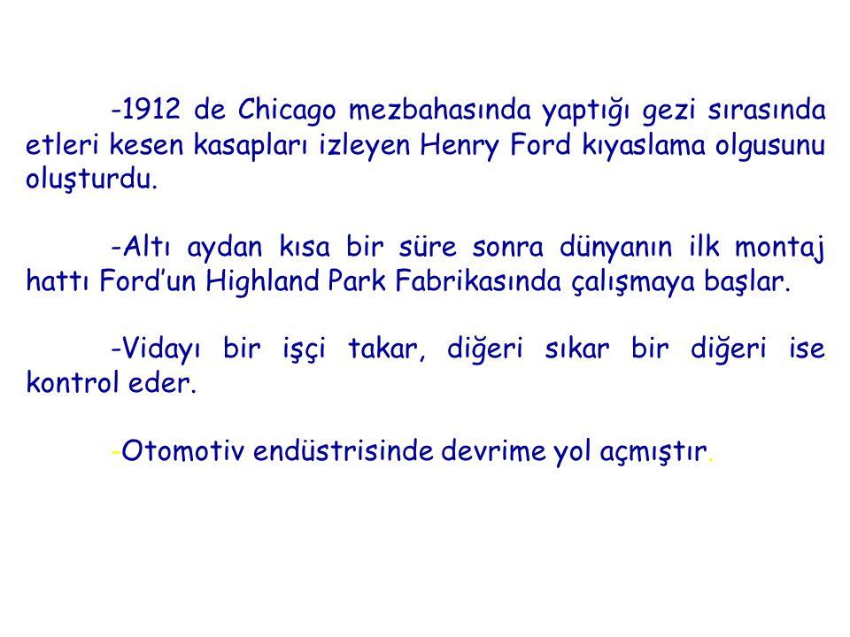 -1912 de Chicago mezbahasında yaptığı gezi sırasında etleri kesen kasapları izleyen Henry Ford kıyaslama olgusunu oluşturdu. -Altı aydan kısa bir süre