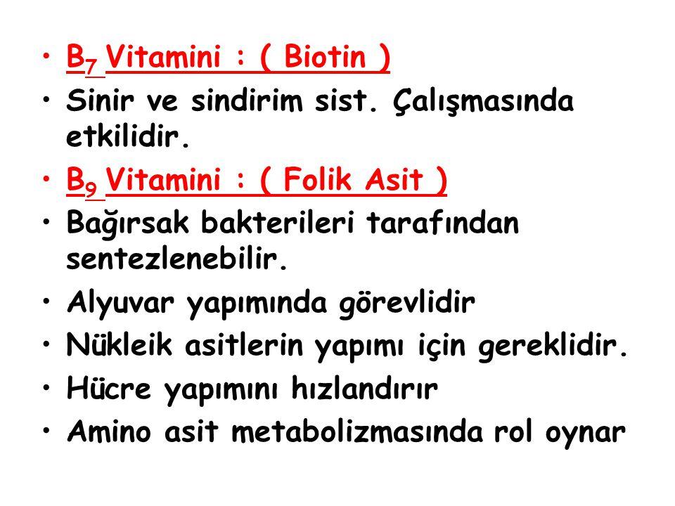 B 7 Vitamini : ( Biotin ) Sinir ve sindirim sist. Çalışmasında etkilidir. B 9 Vitamini : ( Folik Asit ) Bağırsak bakterileri tarafından sentezlenebili