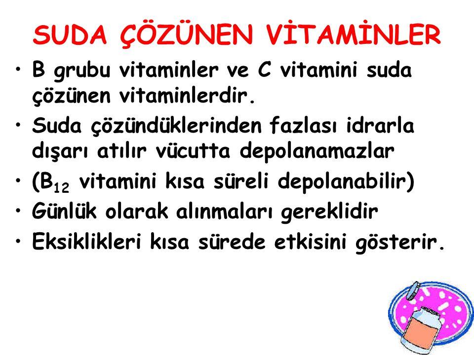 SUDA ÇÖZÜNEN VİTAMİNLER B grubu vitaminler ve C vitamini suda çözünen vitaminlerdir. Suda çözündüklerinden fazlası idrarla dışarı atılır vücutta depol
