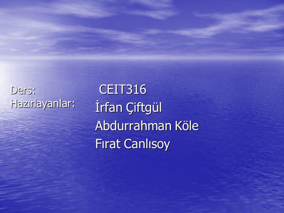 Ders: Hazırlayanlar: CEIT316 CEIT316 İrfan Çiftgül Abdurrahman Köle Fırat Canlısoy