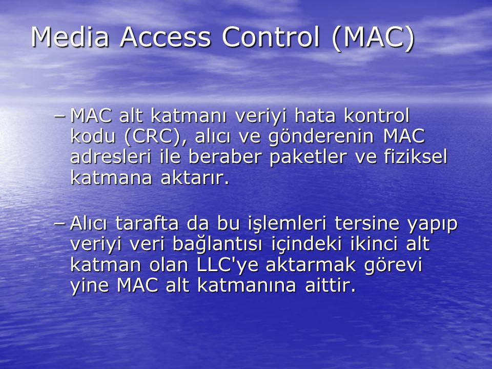 Media Access Control (MAC) – MAC alt katmanı veriyi hata kontrol kodu (CRC), alıcı ve gönderenin MAC adresleri ile beraber paketler ve fiziksel katman
