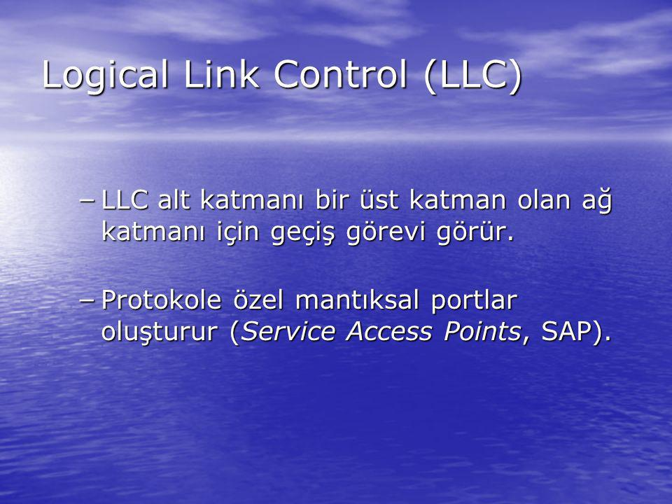 Logical Link Control (LLC) – LLC alt katmanı bir üst katman olan ağ katmanı için geçiş görevi görür. – Protokole özel mantıksal portlar oluşturur (Ser