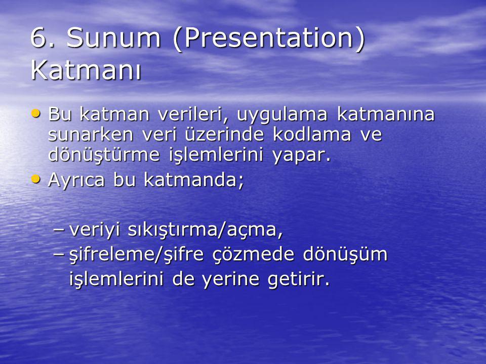 6. Sunum (Presentation) Katmanı Bu katman verileri, uygulama katmanına sunarken veri üzerinde kodlama ve dönüştürme işlemlerini yapar. Bu katman veril