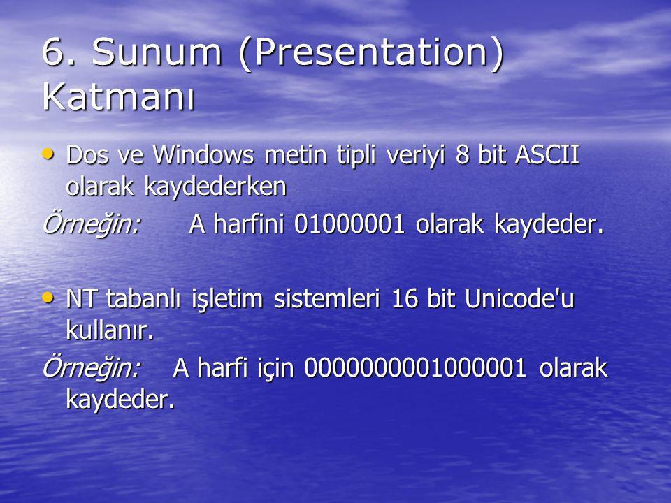 6. Sunum (Presentation) Katmanı Dos ve Windows metin tipli veriyi 8 bit ASCII olarak kaydederken Dos ve Windows metin tipli veriyi 8 bit ASCII olarak