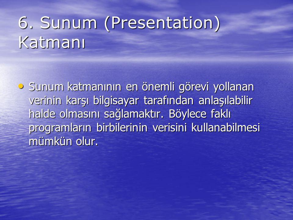 6. Sunum (Presentation) Katmanı Sunum katmanının en önemli görevi yollanan verinin karşı bilgisayar tarafından anlaşılabilir halde olmasını sağlamaktı
