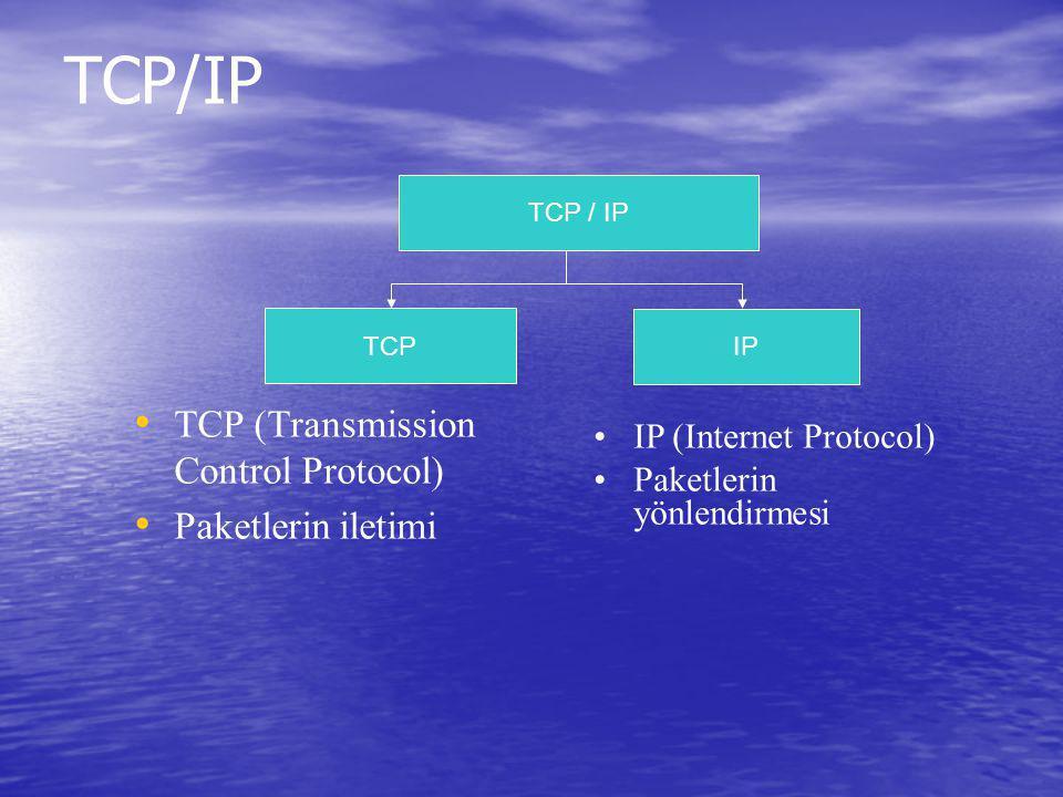 TCP/IP TCP (Transmission Control Protocol) Paketlerin iletimi TCP / IP IP TCP IP (Internet Protocol) Paketlerin yönlendirmesi