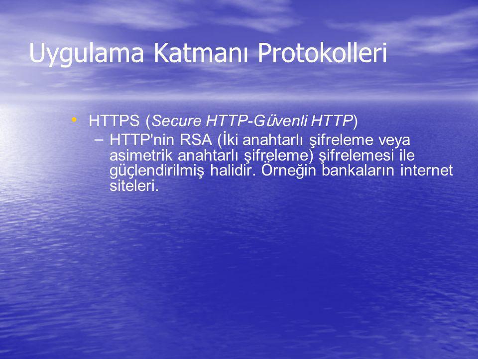 Uygulama Katmanı Protokolleri HTTPS (Secure HTTP-G ü venli HTTP) – – HTTP'nin RSA (İki anahtarlı şifreleme veya asimetrik anahtarlı şifreleme) şifrele