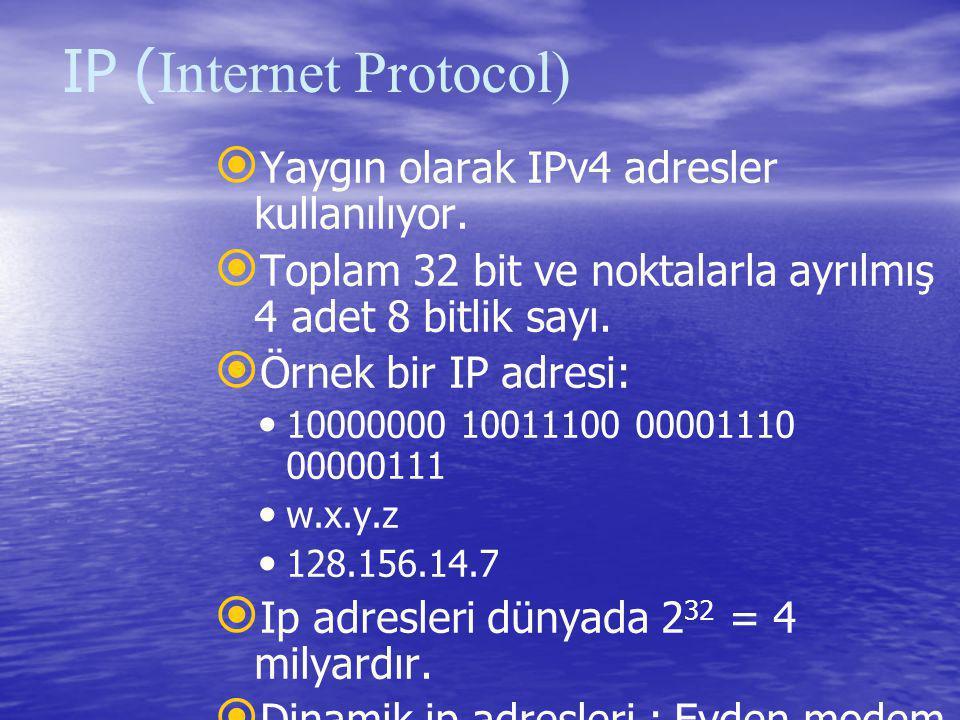IP ( Internet Protocol)   Yaygın olarak IPv4 adresler kullanılıyor.   Toplam 32 bit ve noktalarla ayrılmış 4 adet 8 bitlik sayı.   Örnek bir IP