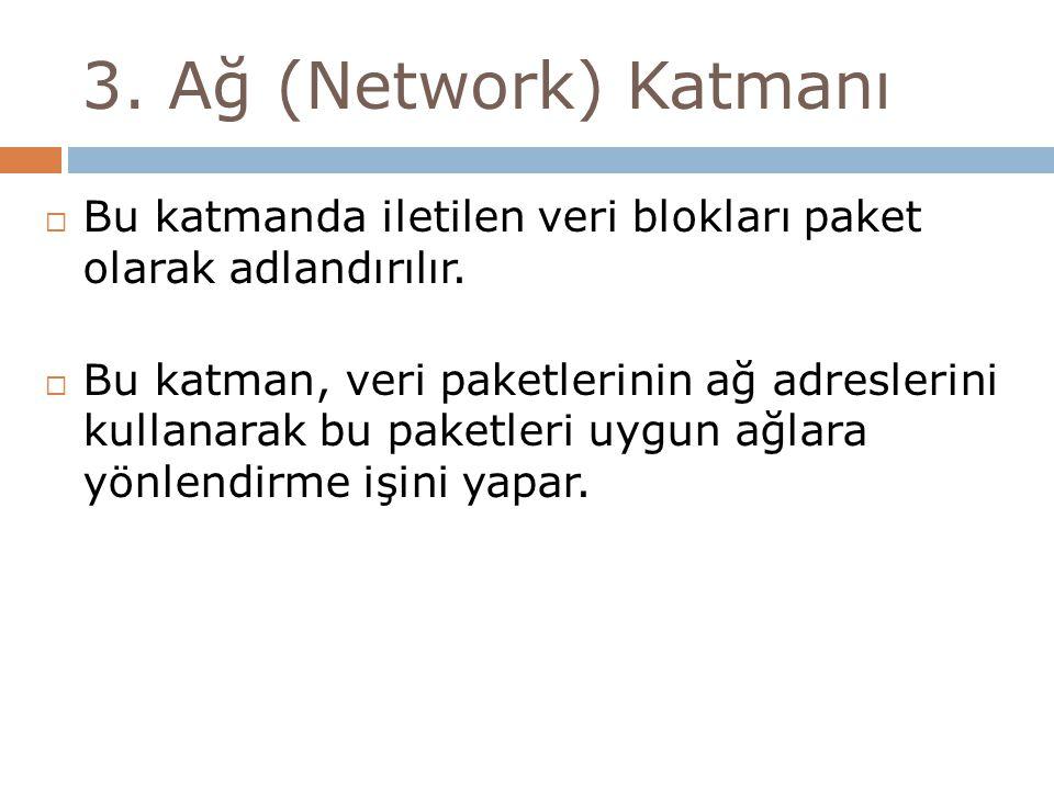 3. Ağ (Network) Katmanı  Bu katmanda iletilen veri blokları paket olarak adlandırılır.  Bu katman, veri paketlerinin ağ adreslerini kullanarak bu pa