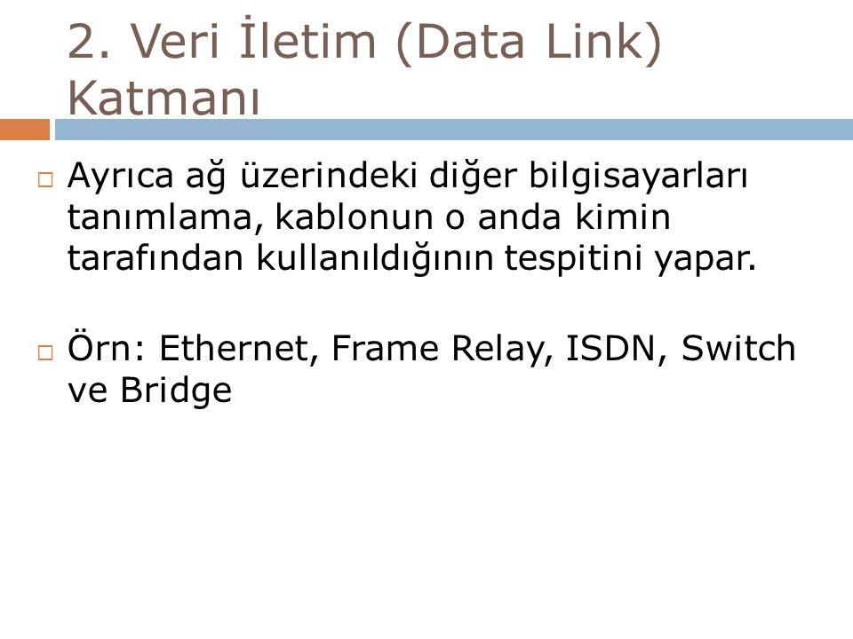 2. Veri İletim (Data Link) Katmanı  Ayrıca ağ üzerindeki diğer bilgisayarları tanımlama, kablonun o anda kimin tarafından kullanıldığının tespitini y