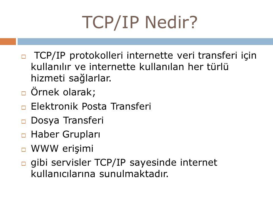 TCP/IP Nedir?  TCP/IP protokolleri internette veri transferi için kullanılır ve internette kullanılan her türlü hizmeti sağlarlar.  Örnek olarak; 