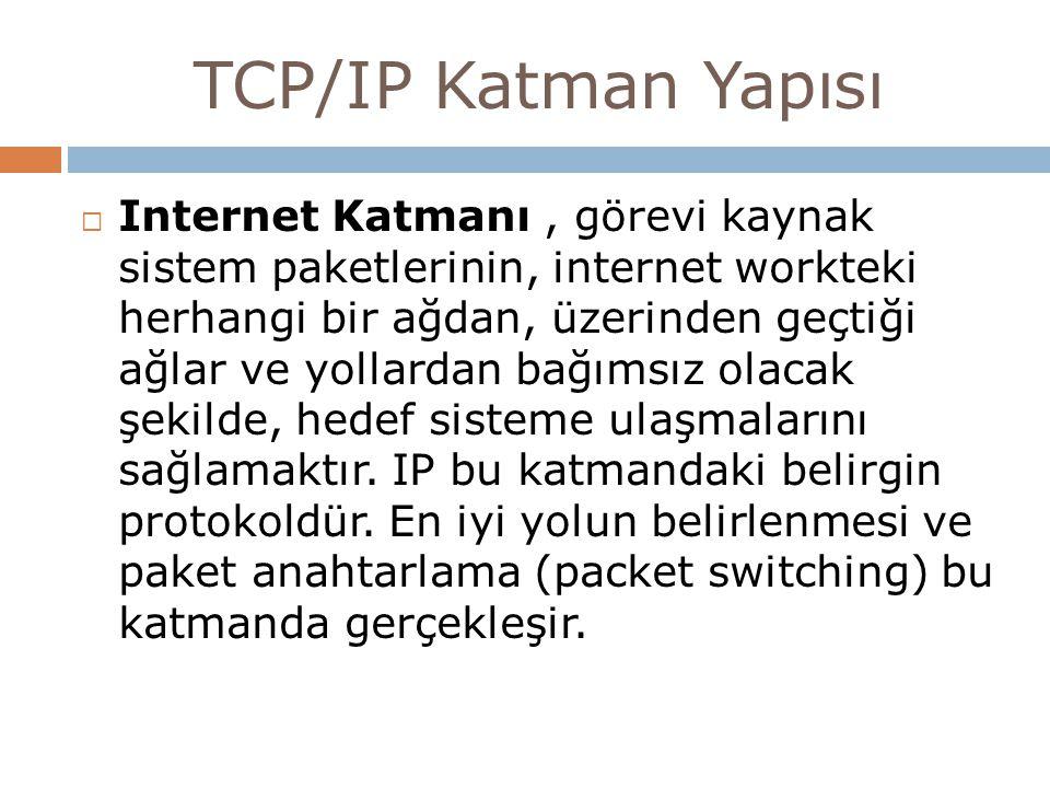 TCP/IP Katman Yapısı  Internet Katmanı, görevi kaynak sistem paketlerinin, internet workteki herhangi bir ağdan, üzerinden geçtiği ağlar ve yollardan