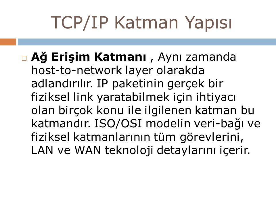 TCP/IP Katman Yapısı  Ağ Erişim Katmanı, Aynı zamanda host-to-network layer olarakda adlandırılır. IP paketinin gerçek bir fiziksel link yaratabilmek