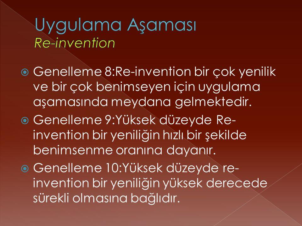  Genelleme 8:Re-invention bir çok yenilik ve bir çok benimseyen için uygulama aşamasında meydana gelmektedir.
