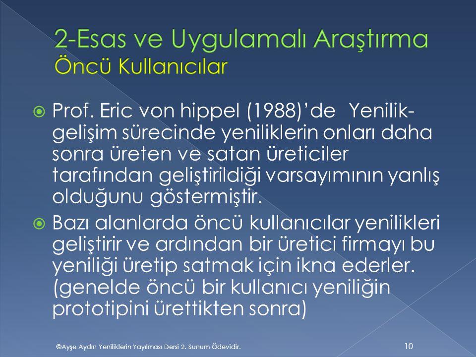  Prof. Eric von hippel (1988)'de Yenilik- gelişim sürecinde yeniliklerin onları daha sonra üreten ve satan üreticiler tarafından geliştirildiği varsa