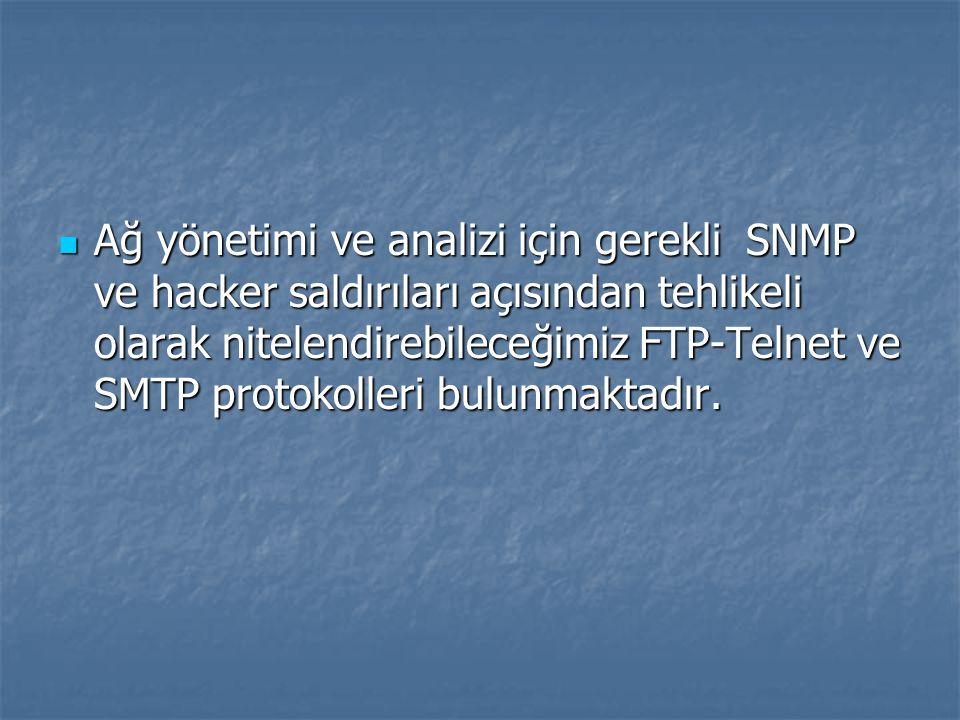 Ağ yönetimi ve analizi için gerekli SNMP ve hacker saldırıları açısından tehlikeli olarak nitelendirebileceğimiz FTP-Telnet ve SMTP protokolleri bulun