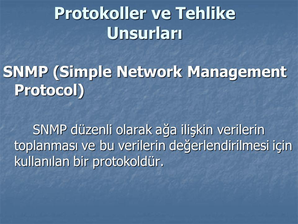Protokoller ve Tehlike Unsurları SNMP (Simple Network Management Protocol) SNMP düzenli olarak ağa ilişkin verilerin toplanması ve bu verilerin değerl