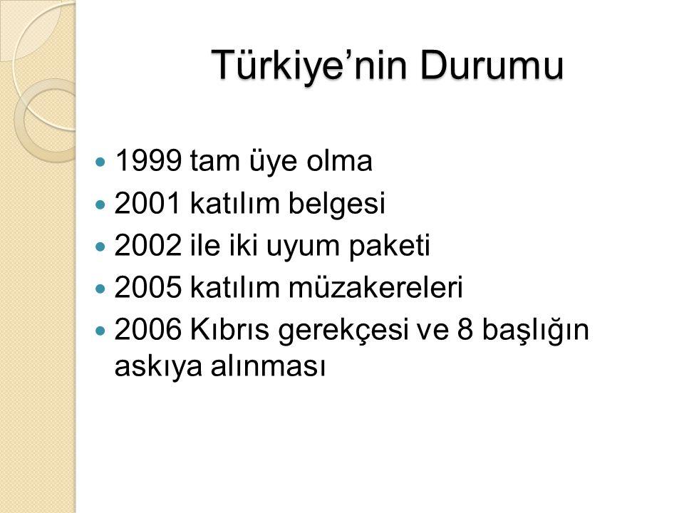 Türkiye'nin Durumu 1999 tam üye olma 2001 katılım belgesi 2002 ile iki uyum paketi 2005 katılım müzakereleri 2006 Kıbrıs gerekçesi ve 8 başlığın askıy